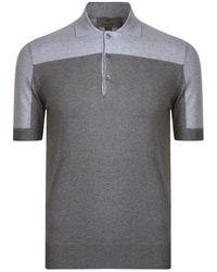 Canali Contrasting Panel Polo Shirt - Gray