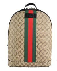 a6db464d400 Gucci - Gg Supreme Backpack With Web - Lyst