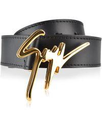 Giuseppe Zanotti - Script Logo Leather Belt - Lyst