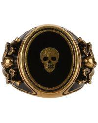 Alexander McQueen Skull Brass Ring - Metallic