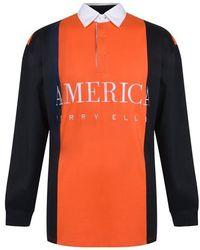 Perry Ellis Long Sleeve Rugby Shirt - Orange