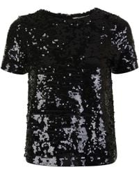 MICHAEL Michael Kors - Crew Sequin Crop T-shirt - Lyst