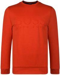 c100c9057 Lyst - BOSS Athleisure Salbo Crew Neck Sweatshirt in Orange for Men