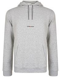 362db8d31c0 Saint Laurent Cotton Hooded Sweatshirt in Gray for Men - Save 28% - Lyst