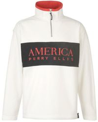 Perry Ellis Quarter Zip Sweatshirt - Natural
