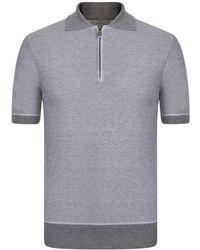 Canali Zip Polo Shirt - Gray