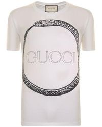 377b9972a Gucci Snake And Logo-print Cotton T-shirt in White for Men - Lyst