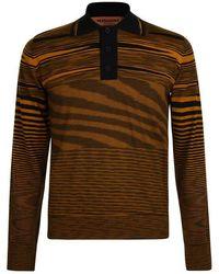 Missoni Long Sleeved Stripe Polo Shirt - Brown
