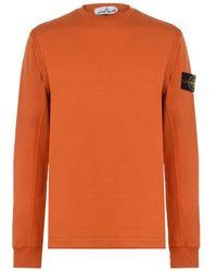 Stone Island Badge Sleeve Sweatshirt - Orange