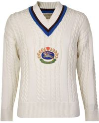 Burberry - Embroidered Crest Wool Sweatshirt - Lyst
