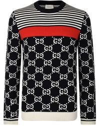 Gucci GG And Stripes Knit Jumper - Blue
