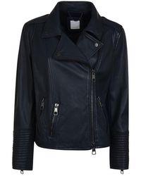 BOSS Jadid Leather Jacket - Blue