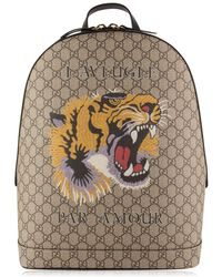 Gucci - Tiger Gg Supreme Backpack - Lyst