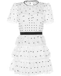 Self-Portrait Floral Lace Dress - White