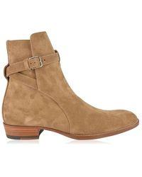 Saint Laurent Wyatt Jodhpur Ankle Boots - Natural