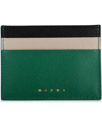 Marni Saffiano Contrast Card Holder - Green