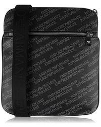 Emporio Armani All Over Logo Print Cross Body Bag - Black