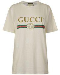 Gucci Fake Logo Printed Cotton Jersey T-shirt - White