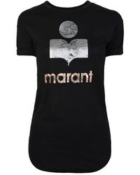 Étoile Isabel Marant Linen T-shirt With A Slit - Black