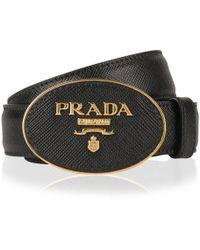 Prada Circle Logo Belt - Black