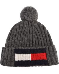 Tommy Hilfiger - Logo Beanie Pompom Hat - Lyst