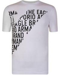 Emporio Armani - Eagle Wording Logo T Shirt - Lyst