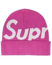 Supreme Big Logo Beanie - Pink