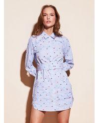 Fleur du Mal Striped Shirt Dress - Blue
