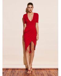 Fleur du Mal Deep V Jersey Draped Dress - Red