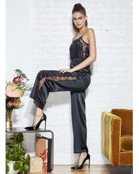 Fleur du Mal Rose Lace Wide Leg Pant - Black