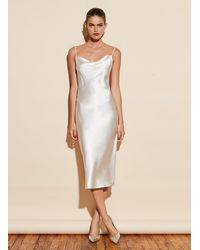 Fleur du Mal Cowl Neck Slip Dress - White