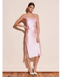 Fleur du Mal Cowl Neck Slip Dress With Slit - Pink