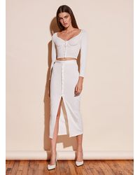 Fleur du Mal Ribbed Snap Skirt With Slit - White