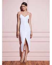 Fleur du Mal Front Snap Dress - White