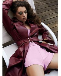 Fleur du Mal Leather Trench Coat - Purple