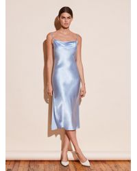 Fleur du Mal Cowl Neck Slip Dress With Slit - Blue