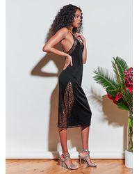 Fleur du Mal Luster Jersey Lace Slip - Black