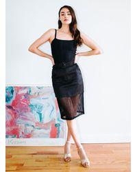 Fleur du Mal Twill & Mesh Skirt - Black