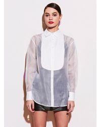 Fleur du Mal Bib Shirt With Organza Body - White