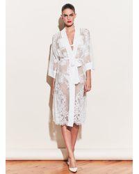 Fleur du Mal Long Lace Robe - White