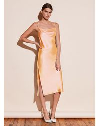 Fleur du Mal Cowl Neck Slip Dress With Slit - Orange