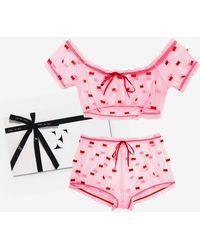 Fleur du Mal Ruched Bow Gift Set - Pink