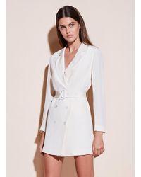 Fleur du Mal Belted Blazer Dress - White