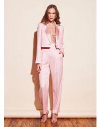 Fleur du Mal Silk Cropped Blazer - Pink