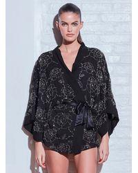 Fleur du Mal Rose Beaded Kimono - Black