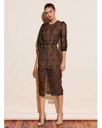 Fleur du Mal Embroidered Puff Sleeve Dress With Slip - Black