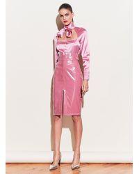 Fleur du Mal Patent V-yoke Skirt - Pink