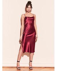 Fleur du Mal Cowl Neck Slip Dress With Slit - Red