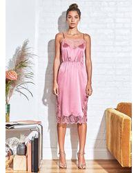 Fleur du Mal Rose Lace Appliqué Slip - Pink