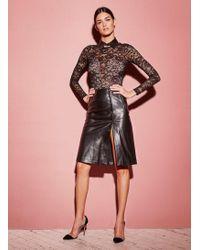 Fleur du Mal Leather A-line Skirt - Black